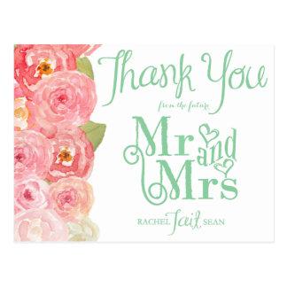 ピンクおよび緑の花のブライダルシャワーは感謝していしています ポストカード