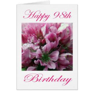 ピンクおよび緑の花の幸せな第98誕生日 カード