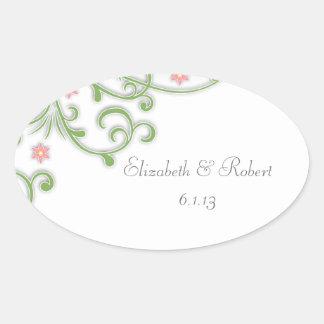 ピンクおよび緑の花の結婚式用シール 楕円形シール