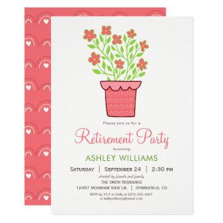 ピンクおよび緑の退職のパーティの招待状 カード