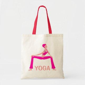 ピンクおよび肌の色合いのヨガの姿勢のシルエット トートバッグ