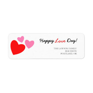 ピンクおよび赤いハート幸せな愛日 ラベル
