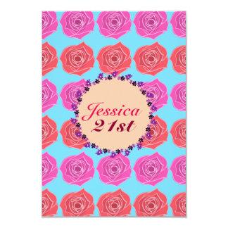 ピンクおよび赤いバラの第21誕生日 カード
