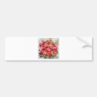 ピンクおよび赤いバラの花束、春の花、花柄 バンパーステッカー