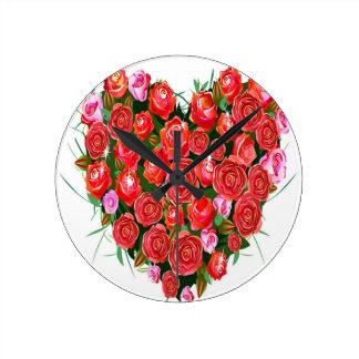 ピンクおよび赤いバラ ラウンド壁時計