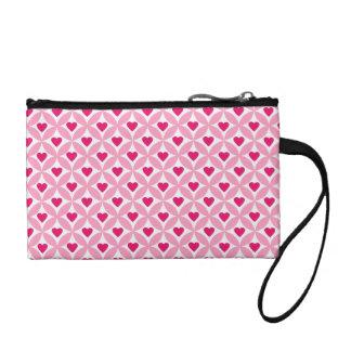 ピンクおよび赤いバレンタインデーのハートパターン コインパース