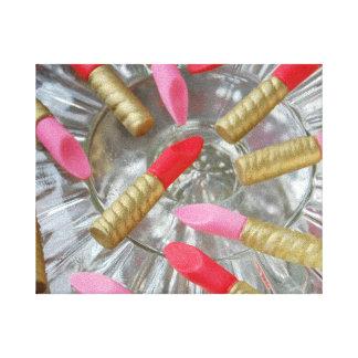 ピンクおよび赤い口紅 キャンバスプリント