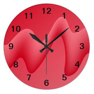 ピンクおよび赤い渦巻のデザインのイメージ ラージ壁時計