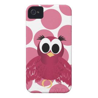 ピンクおよび赤いTwitterの鳥のガーリーなiphone4例 Case-Mate iPhone 4 ケース