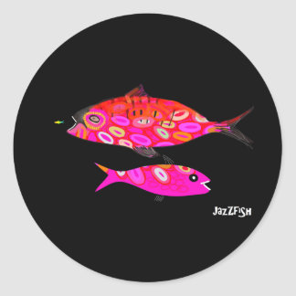 ピンクおよび赤くサイケデリックな魚 ラウンドシール