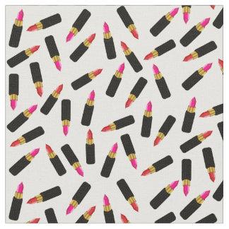 ピンクおよび赤くシックで、蒸し暑い口紅パターン ファブリック