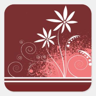 ピンクおよび赤の白いデイジー スクエアシール