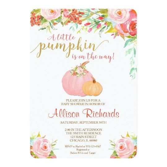 ピンクおよび金ゴールドのカボチャベビーシャワーの招待、秋 カード