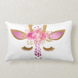 ピンクおよび金ゴールドのキリンの枕 ランバークッション