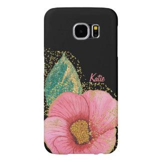 ピンクおよび金ゴールドのハイビスカスのSamsung素晴らしいS6の例 Samsung Galaxy S6 ケース
