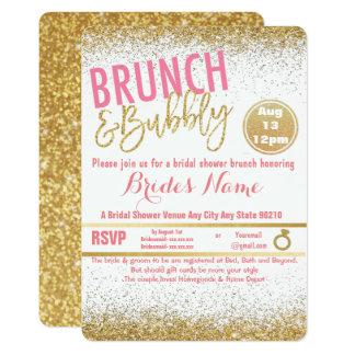 ピンクおよび金ゴールドのブランチ及び快活なブライダルシャワー カード