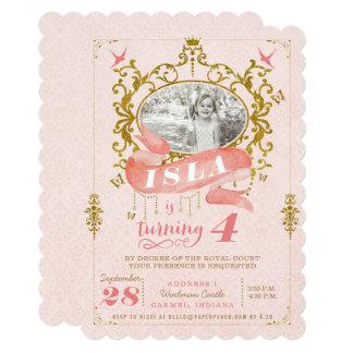 ピンクおよび金ゴールドのプリンセスのバースデーパーティ招待状 カード