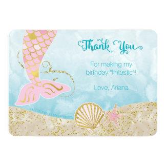 ピンクおよび金ゴールドの人魚のサンキューカード カード