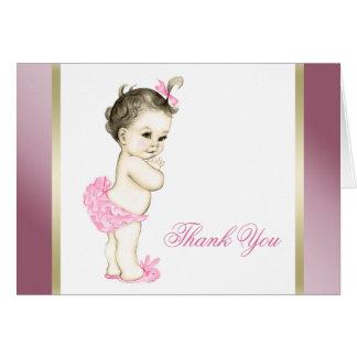 ピンクおよび金ゴールドの女の赤ちゃんは感謝していしています カード