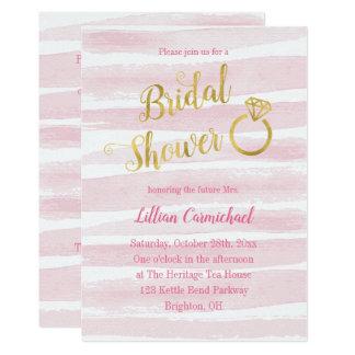 ピンクおよび金ゴールドの水彩画のストライプなブライダルシャワー カード