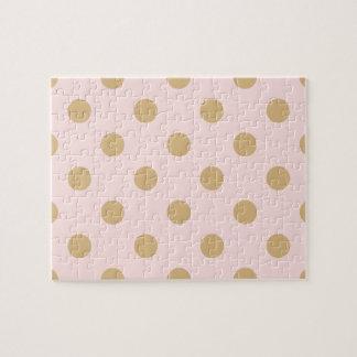 ピンクおよび金ゴールドの水玉模様パターン ジグソーパズル