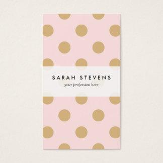 ピンクおよび金ゴールドの水玉模様パターン 名刺