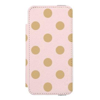 ピンクおよび金ゴールドの水玉模様パターン INCIPIO WATSON™ iPhone 5 ウォレット ケース