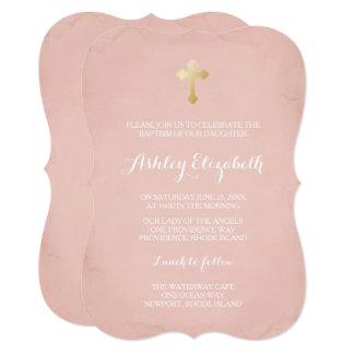 ピンクおよび金ゴールドの洗礼の招待状の~ののどの金ゴールド カード