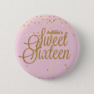 ピンクおよび金ゴールドの点のSweet sixteenボタン 缶バッジ