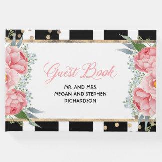 ピンクおよび金ゴールドの花のエレガントなシャクヤクの結婚式 ゲストブック
