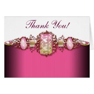 ピンクおよび金ゴールドは感謝していしています グリーティングカード