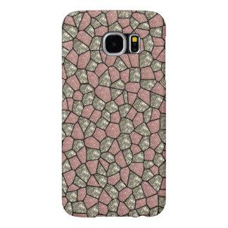 ピンクおよび銀のグリッターの幾何学的なブロックの電話箱 SAMSUNG GALAXY S6 ケース