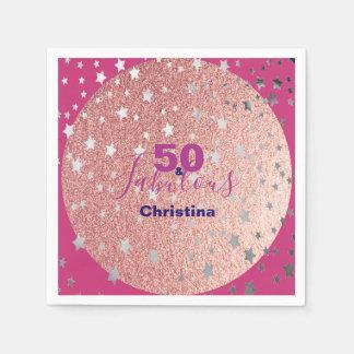 ピンクおよび銀の輝きの第50誕生日 スタンダードカクテルナプキン