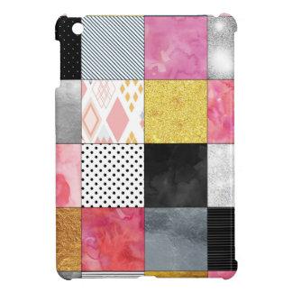 ピンクおよび銀製のキルト iPad MINIケース