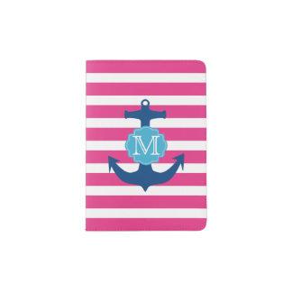 ピンクおよび青いいかりのモノグラムのパスポートのホールダー パスポートカバー