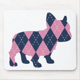 ピンクおよび青いアーガイルのフレンチ・ブルドッグ マウスパッド