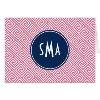 ピンクおよび青いギリシャの主パターンモノグラム カード
