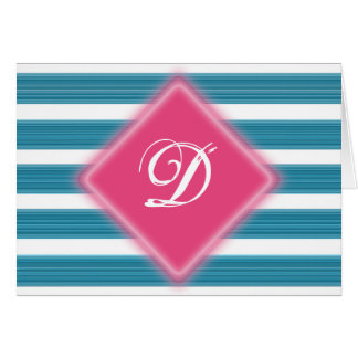 ピンクおよび青いテーマの大文字Notecard カード