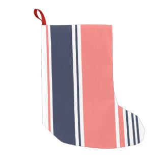 ピンクおよび青いモダンは縞で飾ります スモールクリスマスストッキング