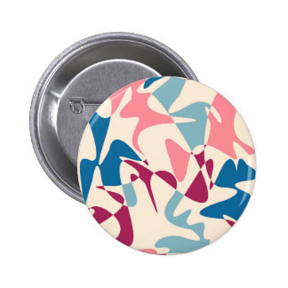 ピンクおよび青い抽象的概念 5.7CM 丸型バッジ