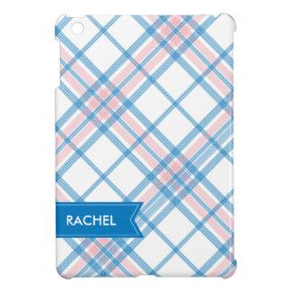 ピンクおよび青い格子縞のモノグラムのiPad iPad Miniケース