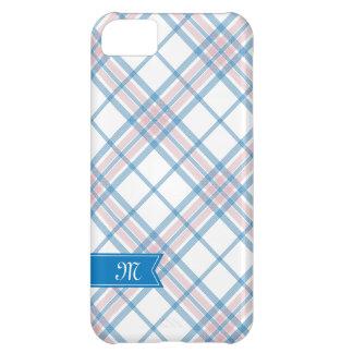 ピンクおよび青い格子縞のモノグラムのiPhone iPhone5Cケース