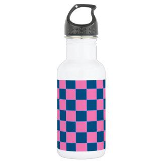 ピンクおよび青い正方形パターン ウォーターボトル