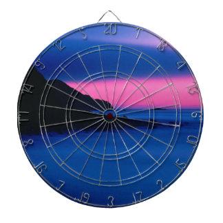 ピンクおよび青い海の日没の投げ矢板 ダーツボード