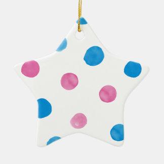 ピンクおよび青い点のパーティー セラミックオーナメント