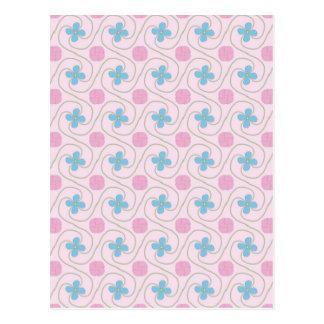 ピンクおよび青い花の平面充填 ポストカード