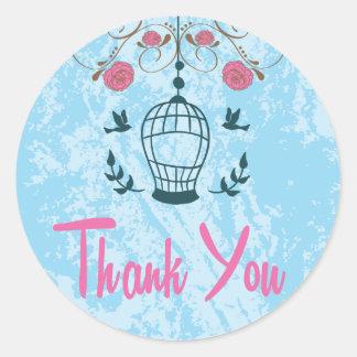 ピンクおよび青い花の鳥かごを感謝していして下さい ラウンドシール