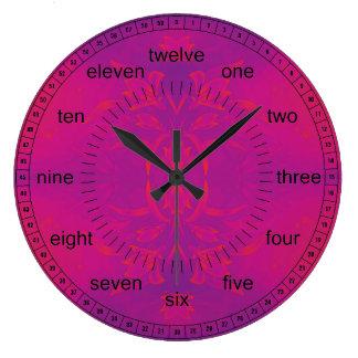 ピンクおよび青い花柄 ラージ壁時計