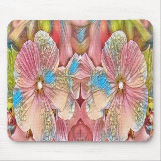 ピンクおよび青い花 マウスパッド
