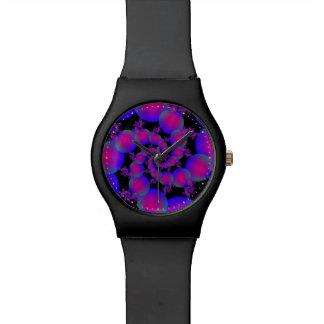 ピンクおよび青い螺線形の泡腕時計 腕時計
